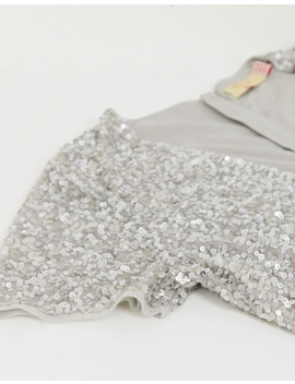 Maya Plus Bridesmaid V Neck Maxi Tulle Dress With Tonal Delicate Sequins In Soft Gray by Maya Plus