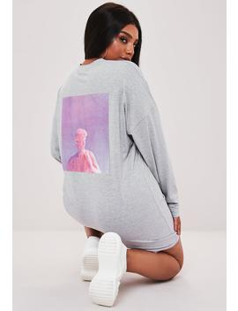 Plus Size Gray Statue Long Sleeve T Shirt Dress by Missguided