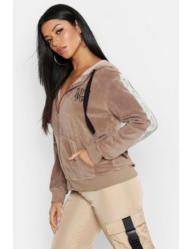 Velour Tape Detail Oversize Hoody by Boohoo