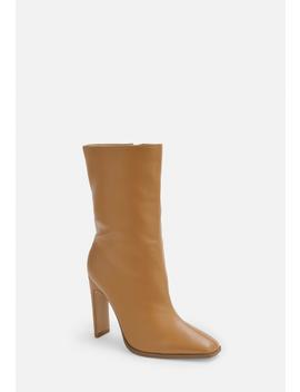 Taupe Calf Height Heeled Boots by Missguided