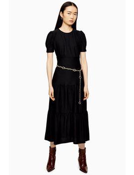 Plain Black Tiered Midi Dress by Topshop