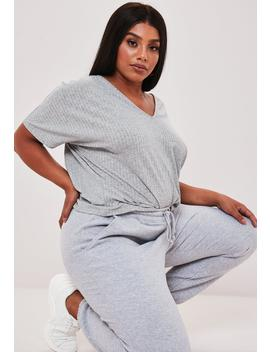 Plus Size Gray Jersey V Neck Boyfriend T Shirt by Missguided