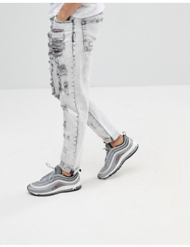 Asos Slim Jeans In Acid Wash Gray With Heavy Rips And Check Patches by Asos