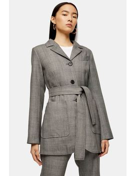 **Wool Check Tie Blazer By Topshop Boutique by Topshop