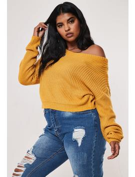 Plus Size Mustard Off The Shoulder Crop Sweater by Missguided