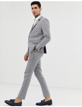 Gianni Feraud Skinny Fit Linen Blend Check Suit Pants by Asos