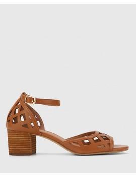 Imani Tan Leather Block Heel Sandal by Wittner