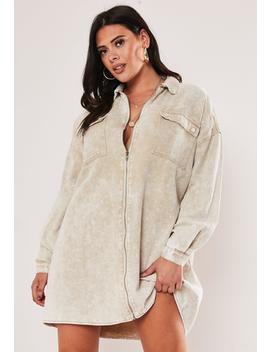 Plus Size Sand Denim Utility Shirt Dress by Missguided