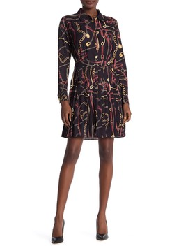 Aria Long Sleeve Pleated Shirt Dress by Alexia Admor