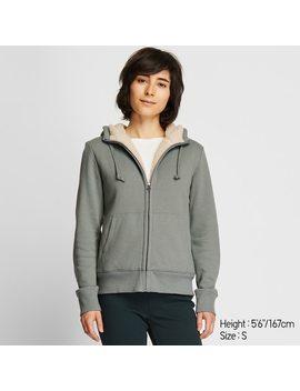 Women Fleece Lined Sweat Zipped Hoodie by Uniqlo