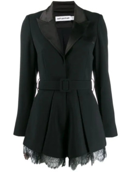 Tailored Crepe Playsuit by Self Portrait