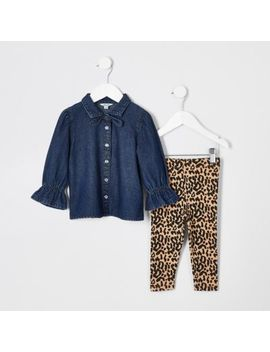 Mini Girls Denim Shirt And Legging Outfit by River Island
