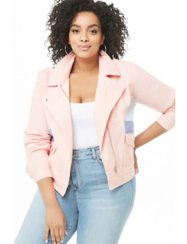 Plus Size Colorblock Denim Jacket by Forever 21