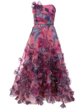 Floral Print Strapless Ball Gown by Marchesa Notte