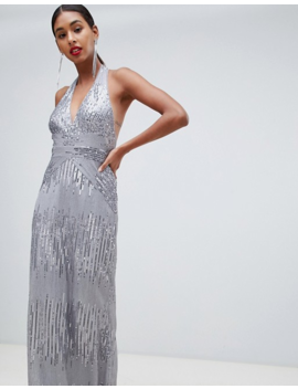 Tfnc Sequin Maxi Dress With Open Back In Silver by Tfnc