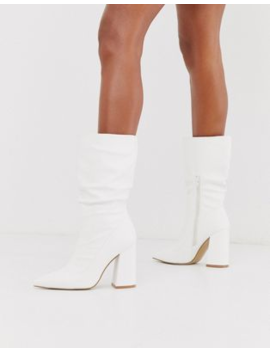 Truffle Collection Slouch Knee Boots In White With Block Heel by Asos