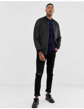 Asos Design Tall Faux Suede Bomber Jacket In Black by Asos Design