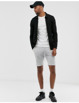 Asos Design Tall Muscle Harrington Jersey Jacket In Black by Asos Design