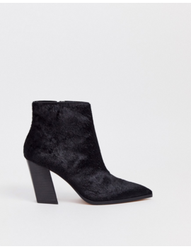 Asos Design Elude Leather Pointed Heeled Boots In Black by Asos Design