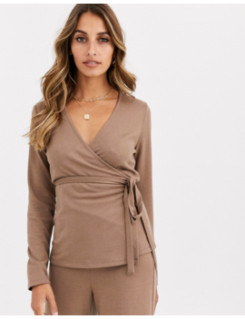 Vero Moda Knitted Wrap Top In Mink by Vero Moda
