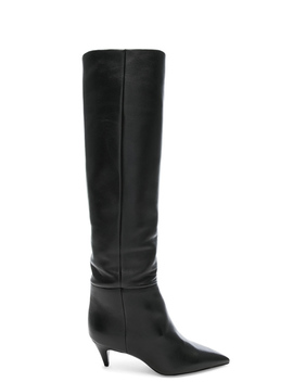 Leather Charlotte Kitten Heel Knee High Boots by Saint Laurent