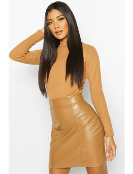 Leather Look Seam Front Mini Skirt by Boohoo