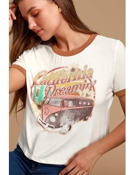 California Dreamin' White Graphic Cropped Tee by Lulus