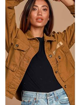 Ready For Action Rust Brown Cropped Utility Jacket by Lulus