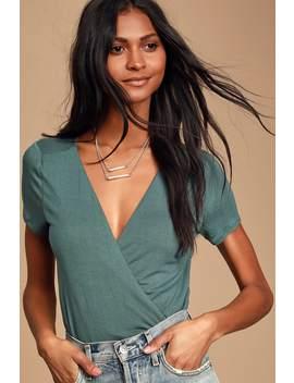 Marren Slate Blue Short Sleeve Surplice Bodysuit by Lulus