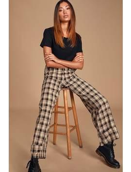 Time's Up Black Multi Plaid Wide Leg Pants by Lulus