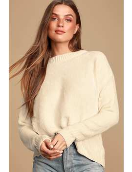 Sweeter Times Ivory Chenille Knit Sweater by Lulus