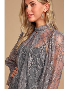 Just Glam Grey Lace Sheer Mock Neck Top by Lulus