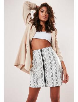 Petite White Snake Print Faux Leather Zip Front Mini Skirt by Missguided