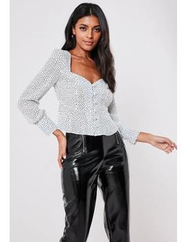 Petite Polka Dot Scribble Print Fluted Hem Blouse by Missguided
