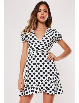 Petite White Polka Dot Wrap Mini Dress by Missguided