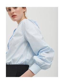 blaue-bluse-mit-stehkragen by reserved