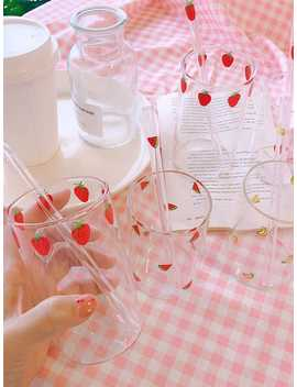 Fruit Print Glass Bottle With Straw 1pc by Romwe