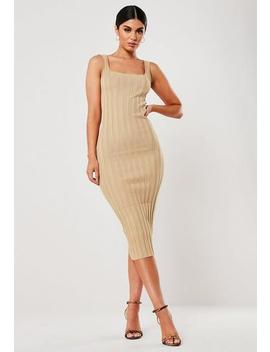 Sand Extreme Rib Knitted Midi Dress by Missguided