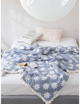 Flower Print Frill Trim Solid Quilt by Romwe
