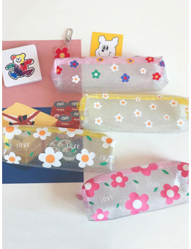 Cute Flower Print Zipper Pencil Bag 1pc by Romwe