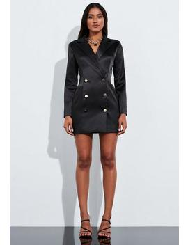 Peace + Love Black Bonded Satin Structured Blazer Dress by Missguided