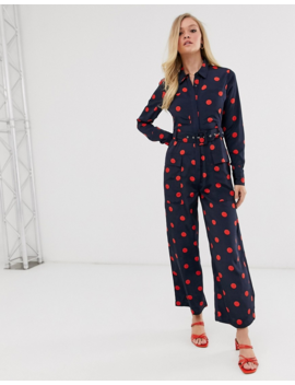 Neon Rose Utility Jumpsuit In Polka Dot by Neon Rose