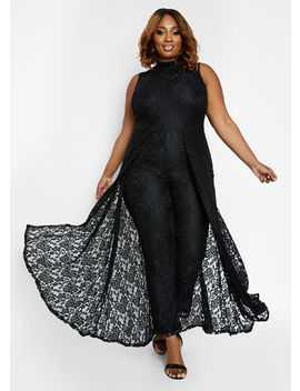 Lace Cape Overlay Jumpsuit by Ashley Stewart