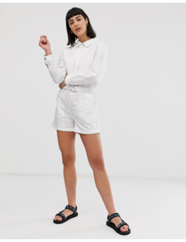 Weekday Belted Boiler Romper With Pockets In White by Weekday