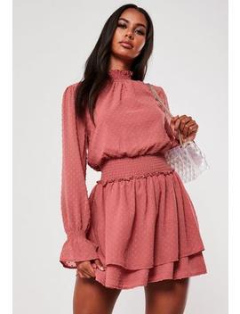 Blush Dobby High Neck Shirred Waist Dress by Missguided