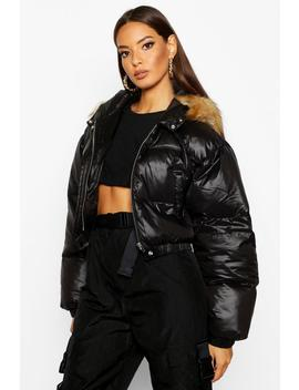 Cire Crop Faux Fur Hood Puffer Jacket by Boohoo