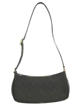 Patent Leather Trim Monogram Pochette Black Canvas Shoulder Bag by Gucci