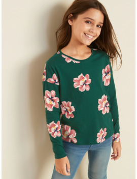 Printed Softest Long Sleeve Crew Neck Tee For Girls by Old Navy
