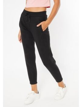 Black Drawstring Boyfriend Joggers by Rue21