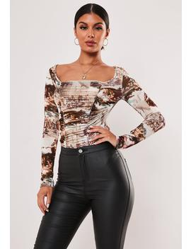 Brown Renaissance Ruched Front Square Neck Bodysuit by Missguided